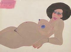 Pregnant woman. Gouache. Signed and dated 'Paris '80'