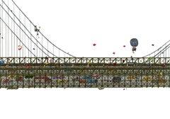 Brooklyn Bridge, fantastic illustration by Guillaume Cornet white framed