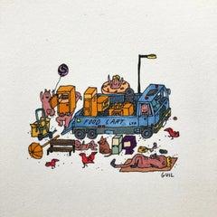 Food Cart Installation, fantastic illustration by Guillaume Cornet white framed