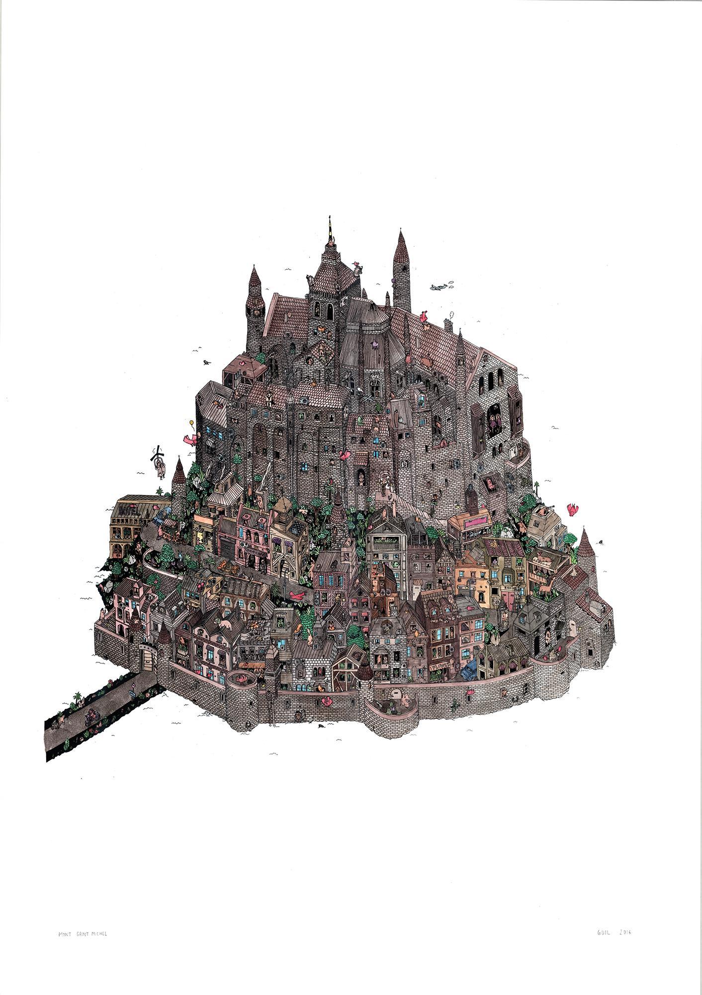 Mont Saint Michel, fantastic watercolor illustration by Guillaume Cornet framed