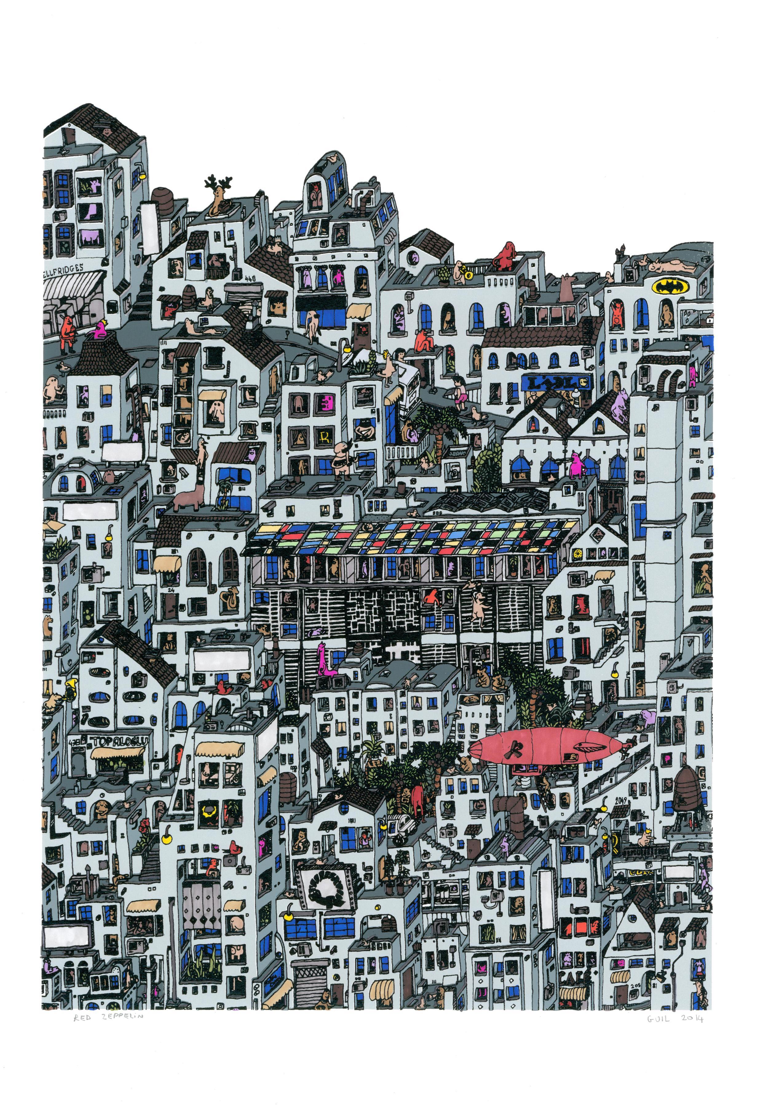 Red Zeppelin, fantastical jungle inspired cityscape by Guillaume Cornet framed