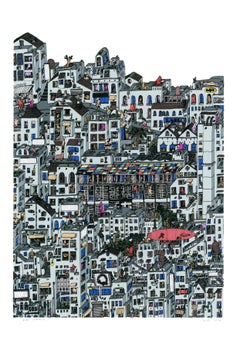 Red Zeppelin, fantastical jungle inspired cityscape by Guillaume Cornet framed