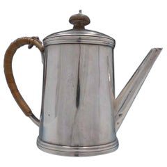 Guillaurme Corne of Paris French Silver Tea Pot with Wood Accents