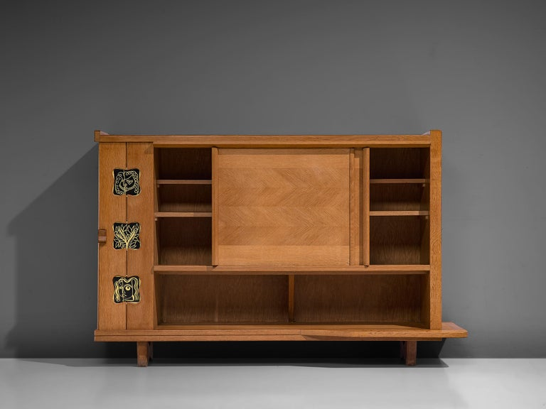 French Guillerme and Chambron Buffet in Oak and Ceramic For Sale