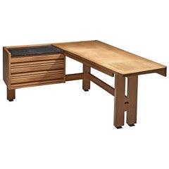 Guillerme and Chambron Corner Desk in Oak and Granite