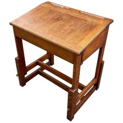 Guillerme et Chambron, Desk Table, Oak Writing Desk, Height Adjustable