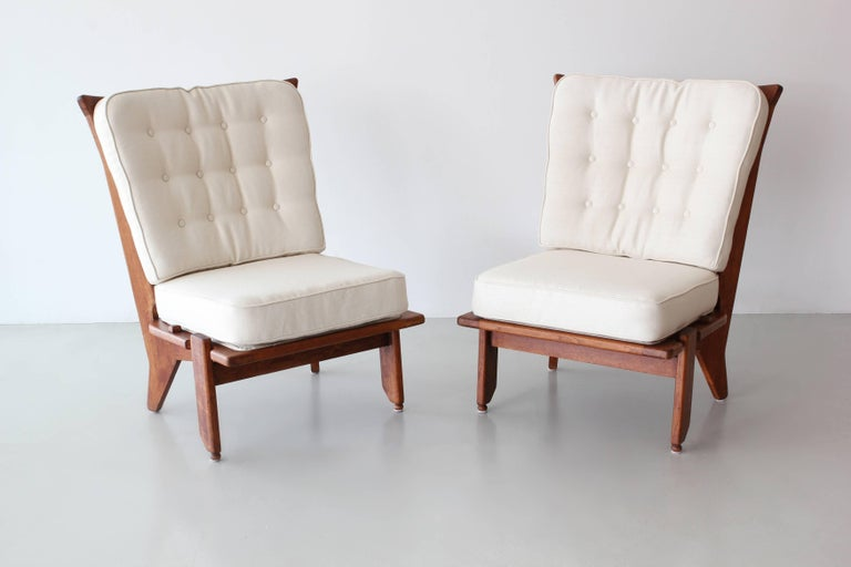 Pair of lounge chairs by Guillerme and Chambron.