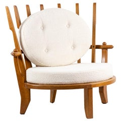 Guillerme and Chambron, Oak Armchair, 1950s
