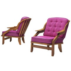 Guillerme and Chambron Pair of Lounge Chairs in Pink Upholstery