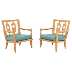 Guillerme and Chambron, Pair of Oak Armchairs, 1950s