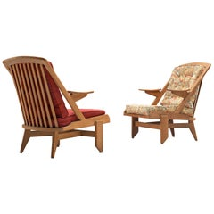 Guillerme and Chambron, Set of Lounge Chairs, France, 1950s