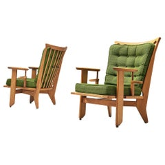 Guillerme and Chambron Set of Lounge Chairs in Green Upholstery