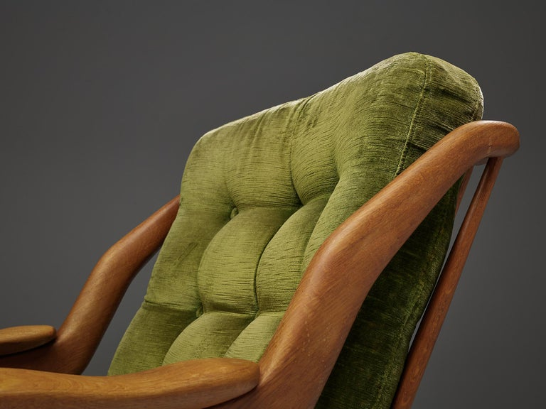 Guillerme and Chambron Set of Lounge Chairs in Green Velvet Upholstery For Sale 3