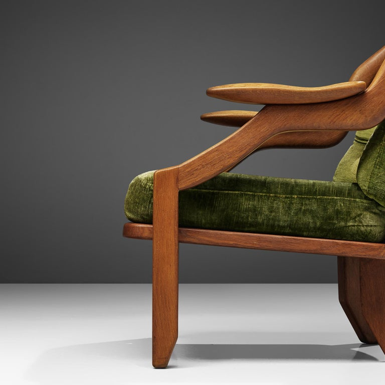 Guillerme and Chambron Set of Lounge Chairs in Green Velvet Upholstery For Sale 5
