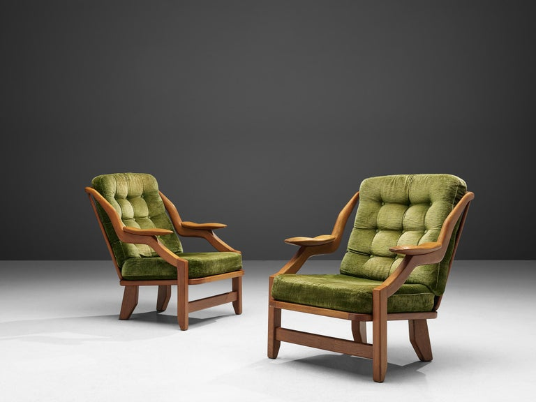 Mid-Century Modern Guillerme and Chambron Set of Lounge Chairs in Green Velvet Upholstery For Sale