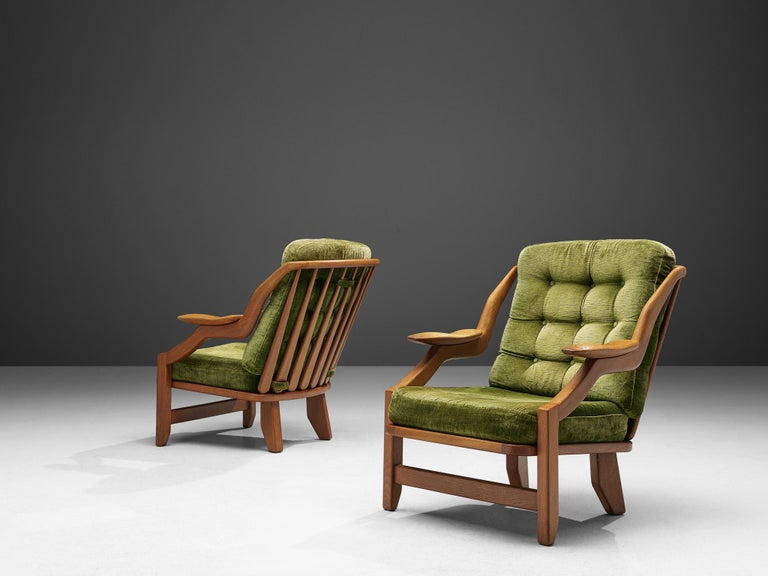 French Guillerme and Chambron Set of Lounge Chairs in Green Velvet Upholstery For Sale