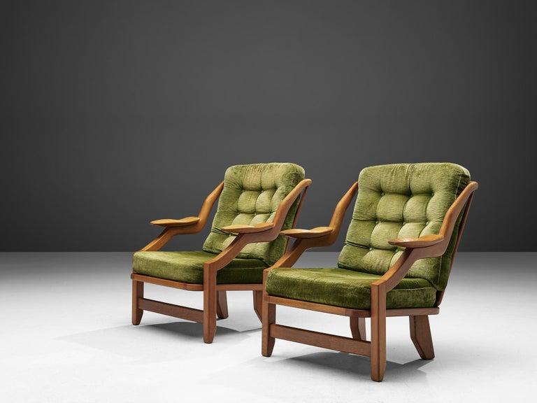 Guillerme and Chambron Set of Lounge Chairs in Green Velvet Upholstery In Good Condition For Sale In Waalwijk, NL