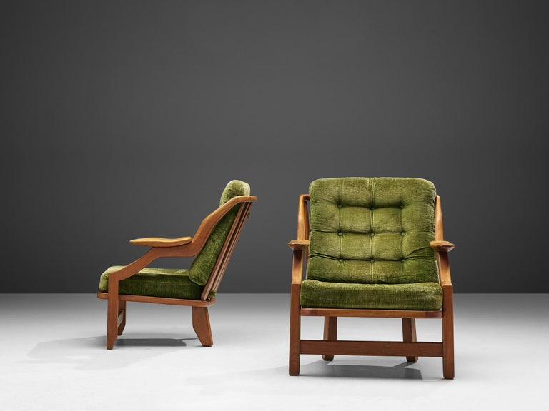 Mid-20th Century Guillerme and Chambron Set of Lounge Chairs in Green Velvet Upholstery For Sale