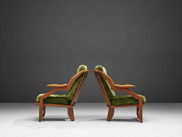 Fabric Guillerme and Chambron Set of Lounge Chairs in Green Velvet Upholstery For Sale