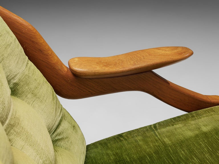 Guillerme and Chambron Set of Lounge Chairs in Green Velvet Upholstery For Sale 2