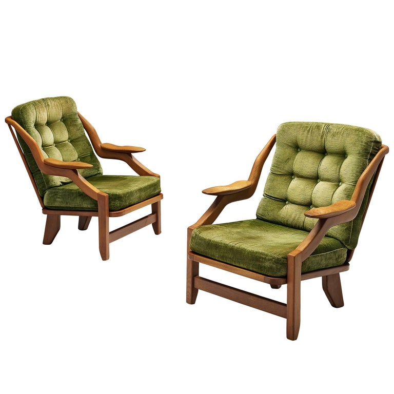 Guillerme and Chambron Set of Lounge Chairs in Green Velvet Upholstery For Sale