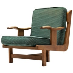 Guillerme & Chambron Armchair in Oak and Green Fabric