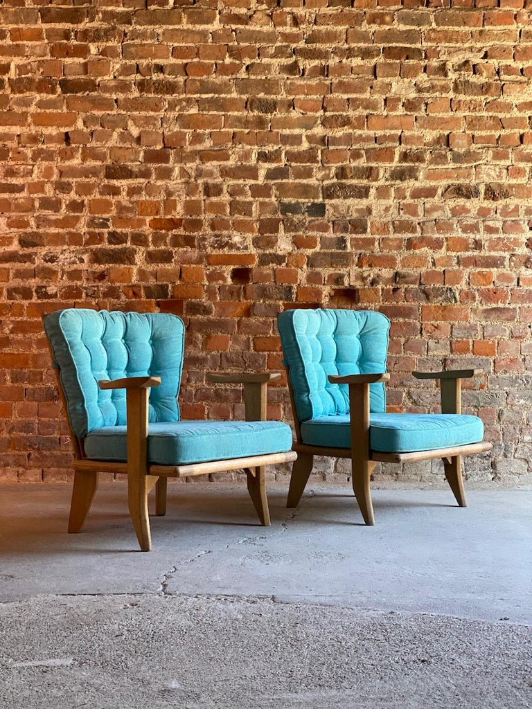Guillerme & Chambron Armchairs Lounge Chairs, France, circa 1950s For Sale 4