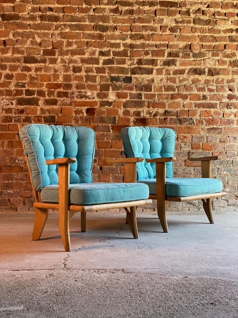 Mid-Century Modern Guillerme & Chambron Armchairs Lounge Chairs, France, circa 1950s For Sale