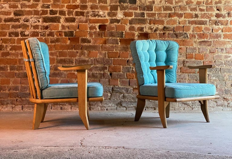 French Guillerme & Chambron Armchairs Lounge Chairs, France, circa 1950s For Sale