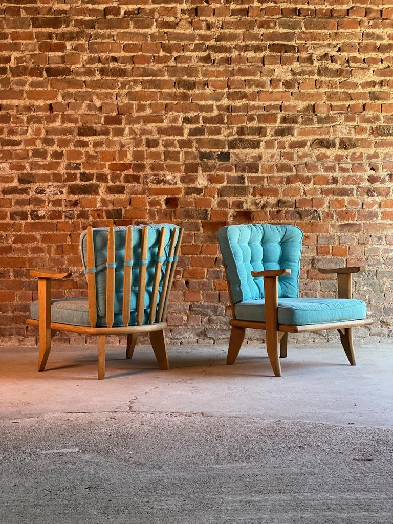 Mid-20th Century Guillerme & Chambron Armchairs Lounge Chairs, France, circa 1950s For Sale