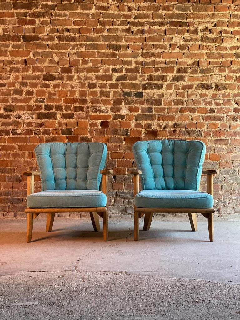 Guillerme & Chambron Armchairs Lounge Chairs, France, circa 1950s For Sale 1