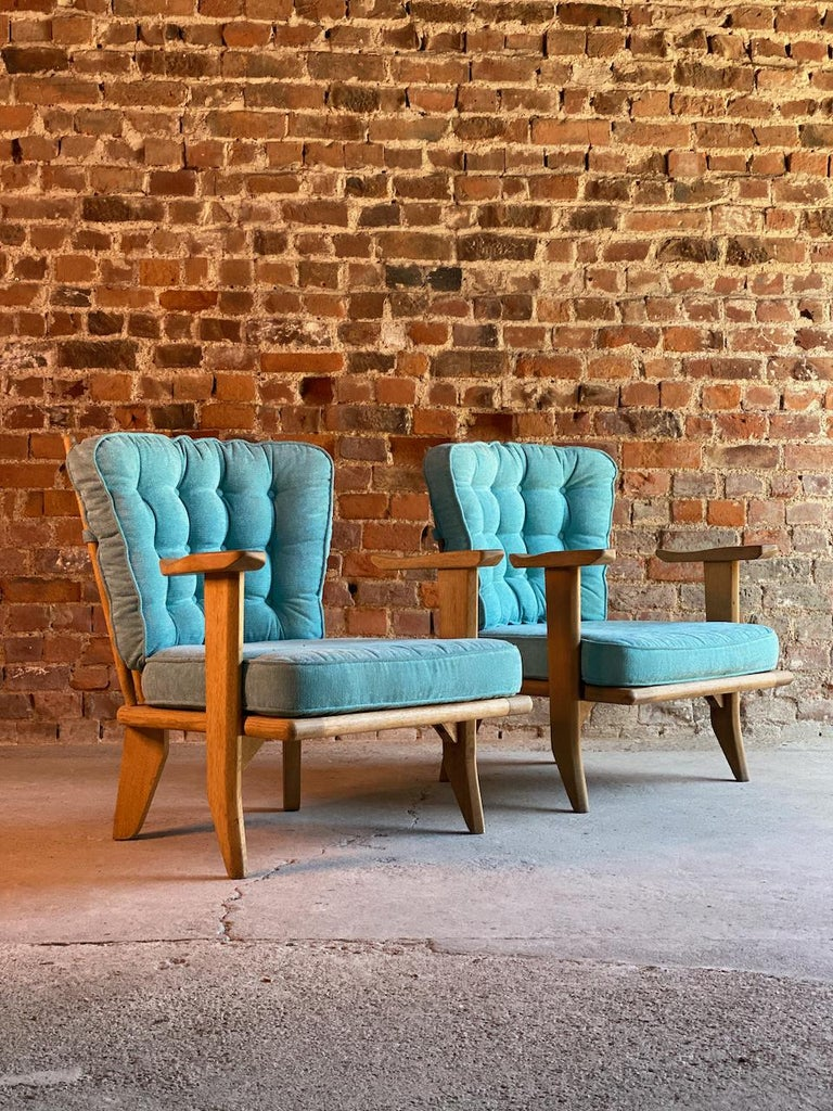 Guillerme & Chambron Armchairs Lounge Chairs, France, circa 1950s For Sale 2