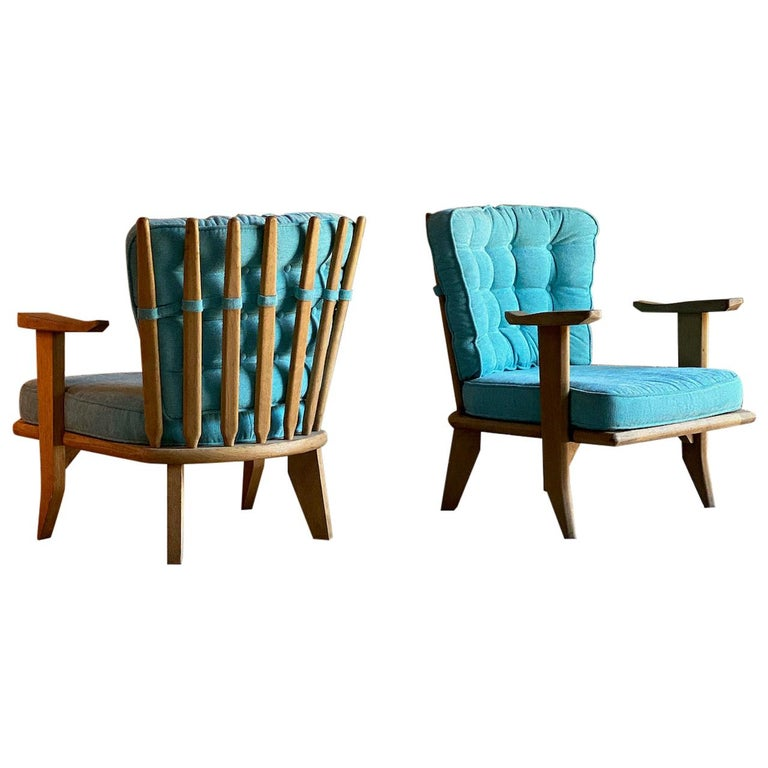 Guillerme & Chambron Armchairs Lounge Chairs, France, circa 1950s For Sale
