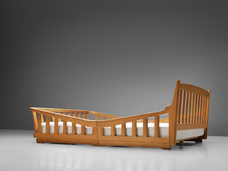 French Guillerme & Chambron Bed in Solid Oak