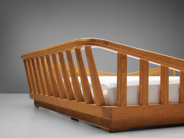 Mid-20th Century Guillerme & Chambron Bed in Solid Oak