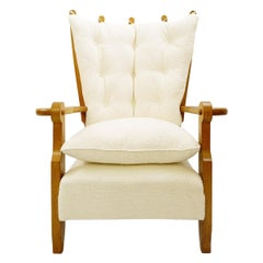 Guillerme & Chambron Carved Oak High Back Armchair, New Upholstery