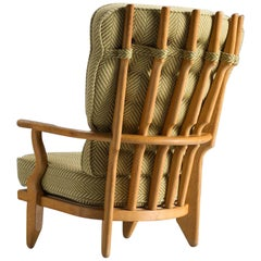 Guillerme & Chambron Carved Oak High Back Chair