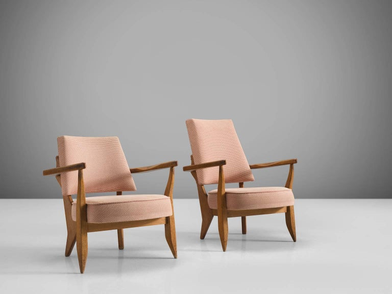 Mid-Century Modern Guillerme & Chambron Carved Set of Him and Her Lounge Chairs, 1950s For Sale