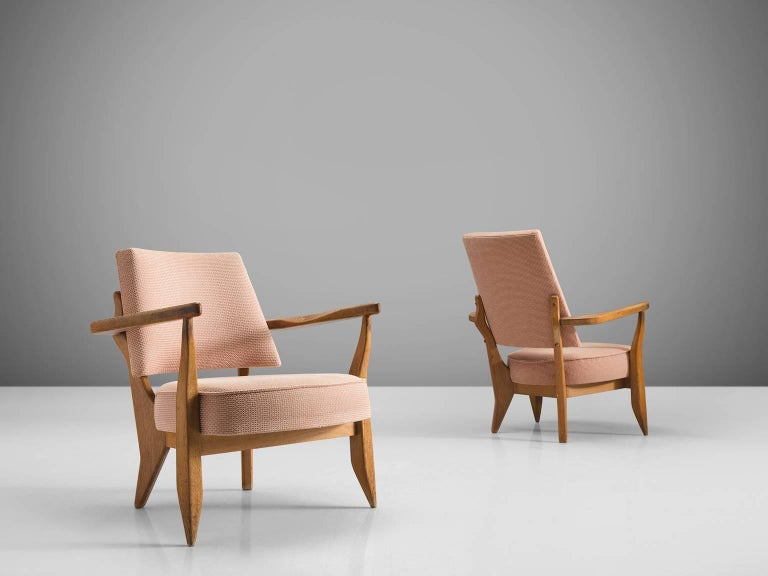 French Guillerme & Chambron Carved Set of Him and Her Lounge Chairs, 1950s For Sale