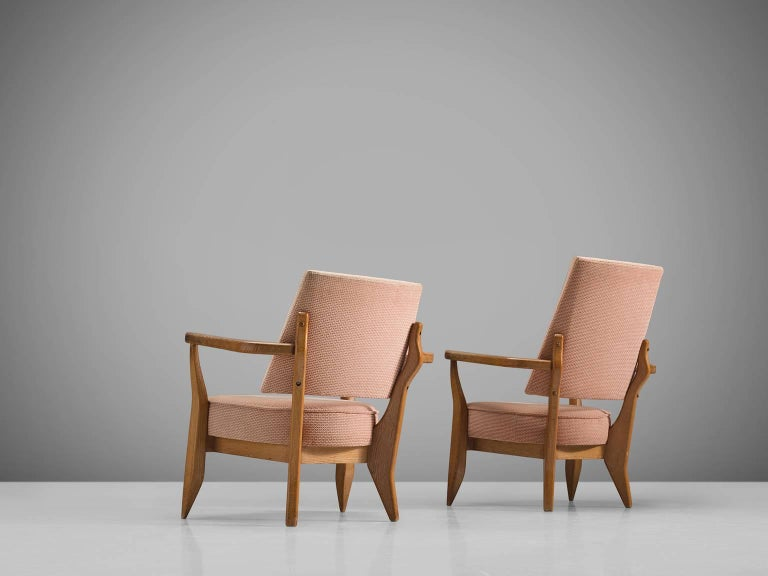 Guillerme & Chambron Carved Set of Him and Her Lounge Chairs, 1950s In Good Condition For Sale In Waalwijk, NL