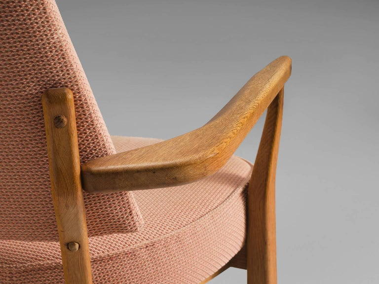 Fabric Guillerme & Chambron Carved Set of Him and Her Lounge Chairs, 1950s For Sale