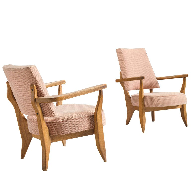 Guillerme & Chambron Carved Set of Him and Her Lounge Chairs, 1950s For Sale