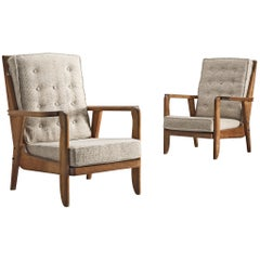 Guillerme & Chambron Carved Set of Oak Lounge Chairs, 1950s