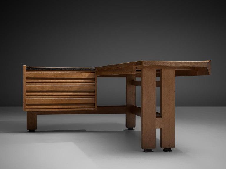Mid-Century Modern Guillerme and Chambron Corner Desk in Oak and Granite For Sale