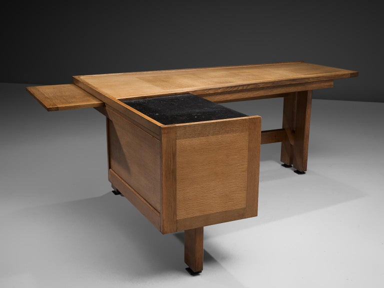 French Guillerme and Chambron Corner Desk in Oak and Granite For Sale