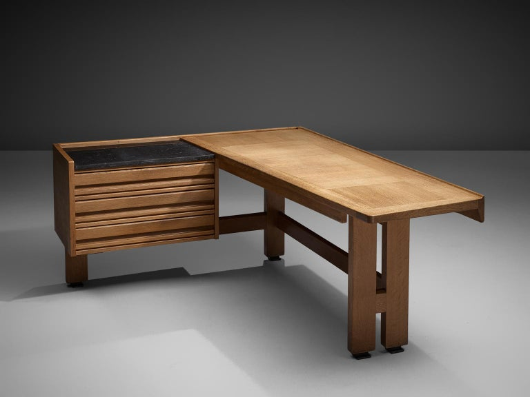 Guillerme and Chambron Corner Desk in Oak and Granite In Good Condition For Sale In Waalwijk, NL