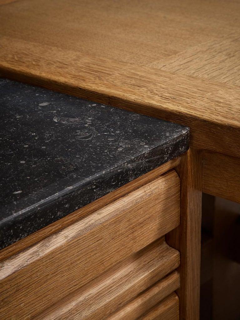 Mid-20th Century Guillerme and Chambron Corner Desk in Oak and Granite For Sale