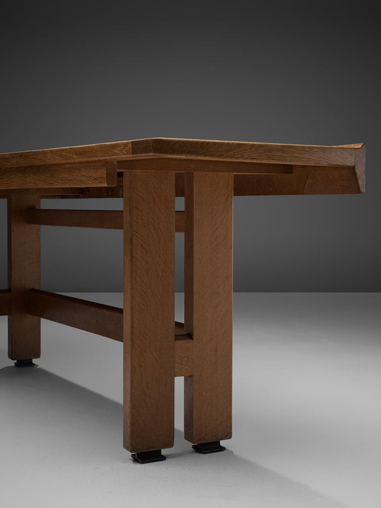 Guillerme and Chambron Corner Desk in Oak and Granite For Sale 2