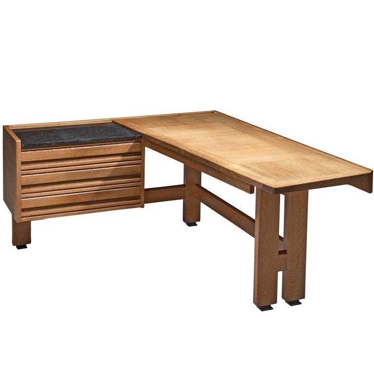 Guillerme and Chambron Corner Desk in Oak and Granite For Sale