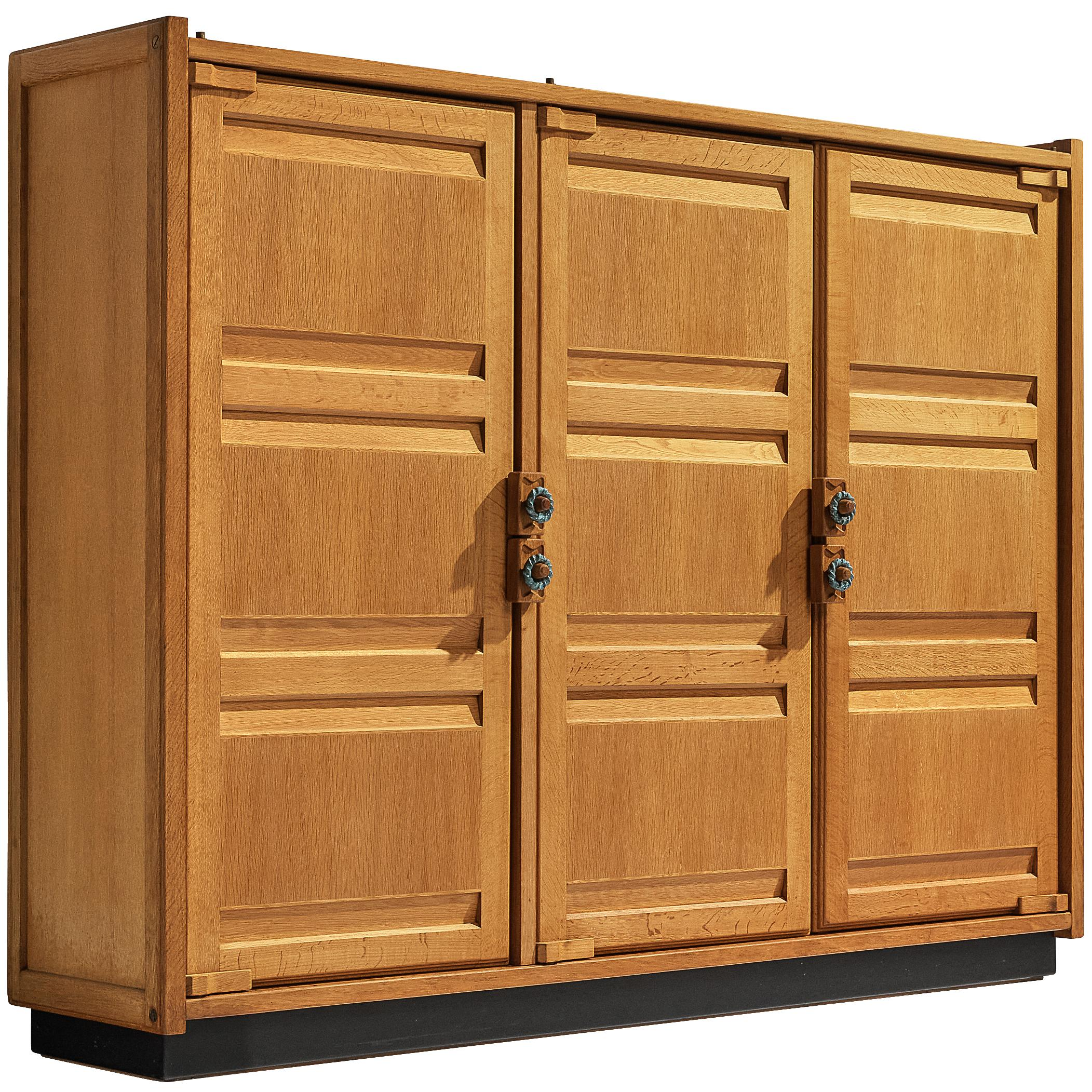 Guillerme & Chambron Wardrobe with Carved Doors in Oak